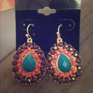 Jewelry - Brown and turquoise earrings